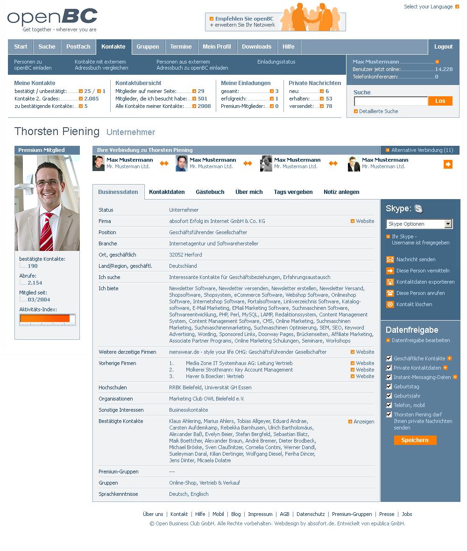 Entwurf der openBC-Profilseite in eingeloggtem Zustand.