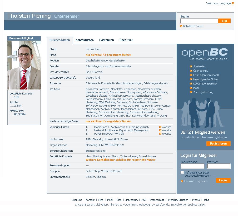 Entwurf openBC-Profilseite in ausgeloggtem Zustand.