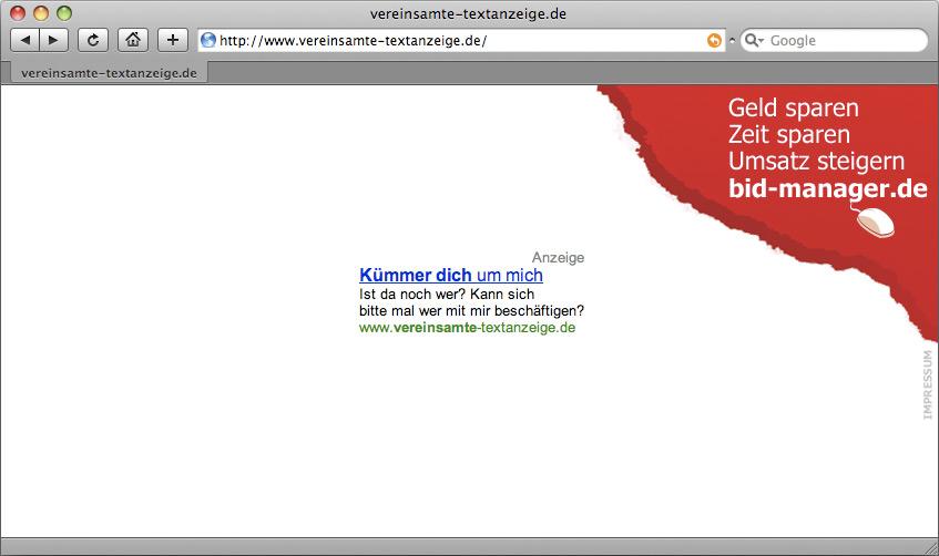 Kampagnenseite vereinsamte-textanzeige.de