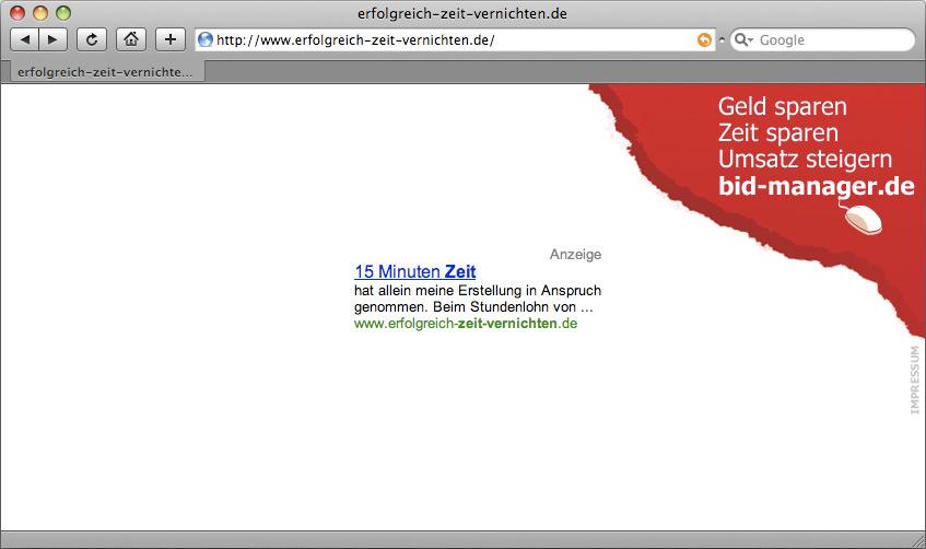 Kampagnenseite erfolgreich-zeit-vernichten.de