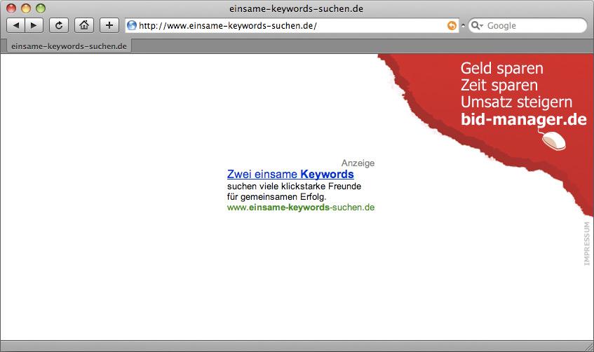 Kampagnenseite einsame-keywords-suchen.de
