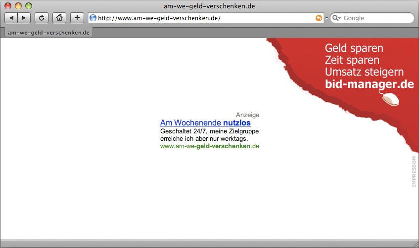 Kampagnenseite am-we-geld-verschenken.de