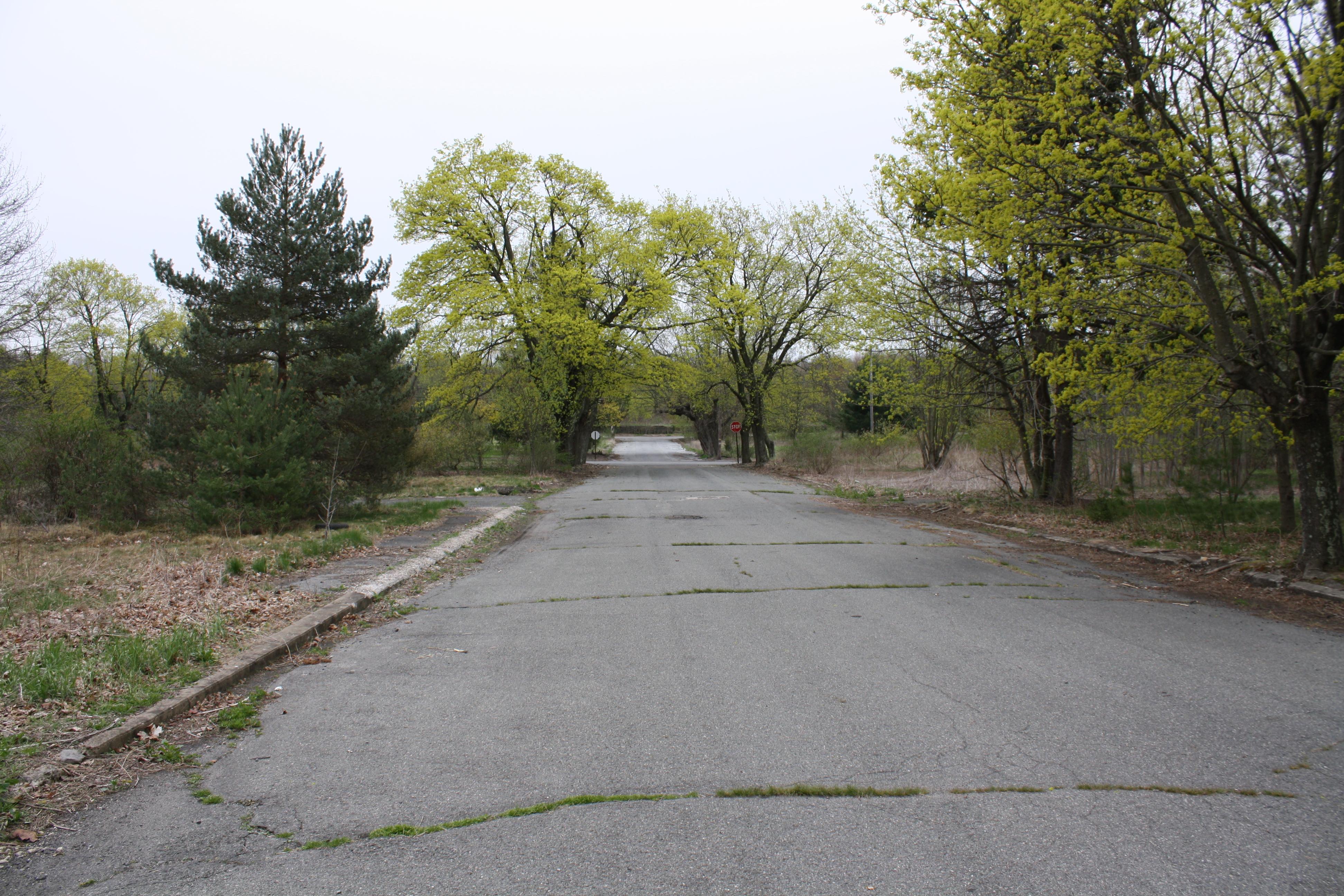 Eine Kreuzung mit Staßenschildern -aber ohne Verkehr.