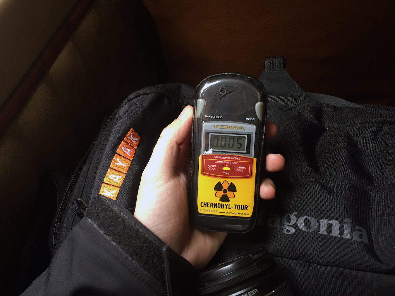 The Geiger Counter shows the natural radiation in Kiev.