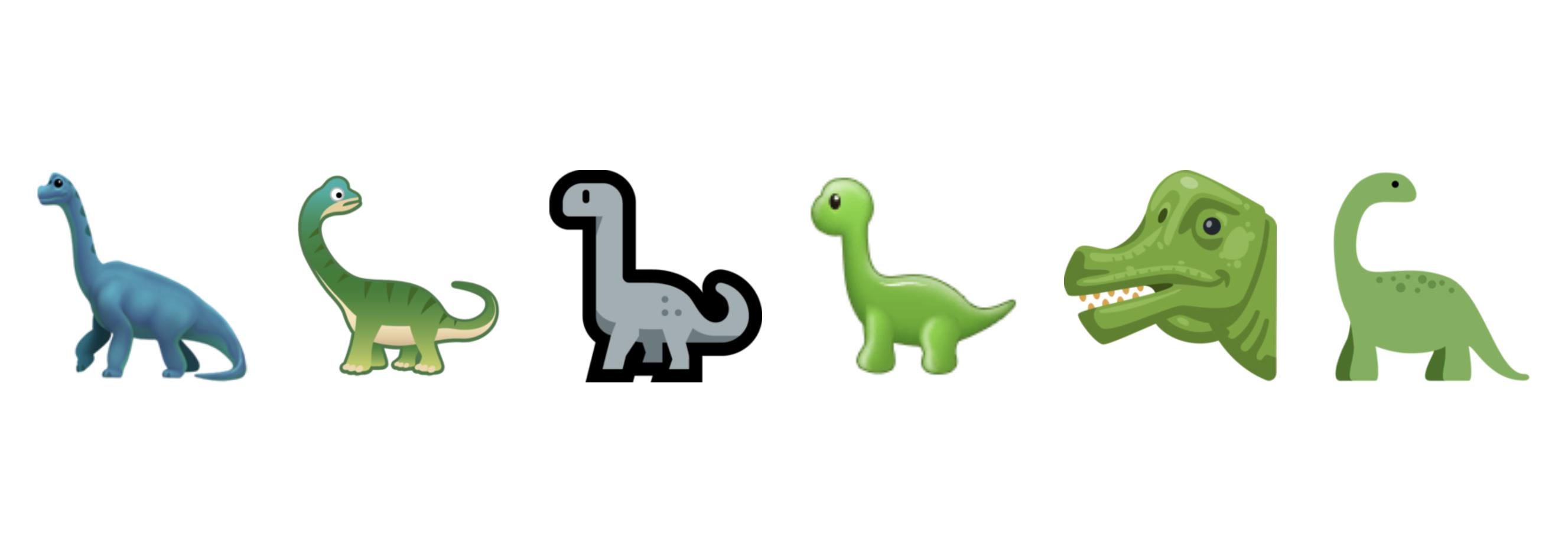 V.l.n.r.: Die Umsetzung des Sauropod-Emoji von Apple, Google, Microsoft, Samsung, Facebook und Twitter.