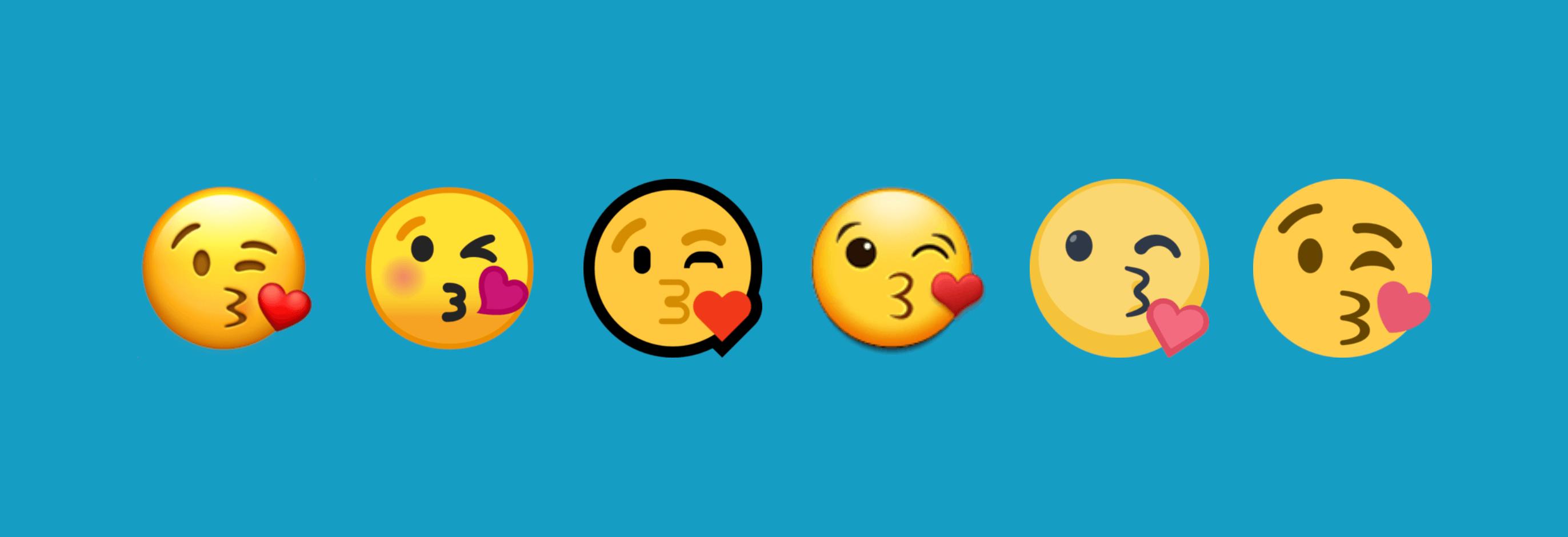 Die unterschiedlichen Emoji-Designs auf den Plattformen (v.l.n.r.): Apple, Google, Microsoft, Samsung, Facebook, Twitter